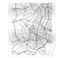 Bangkok Map, Thailand - Black and White Poster