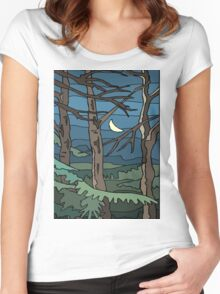 Abstract Tree Branch Night Scene Women's Fitted Scoop T-Shirt