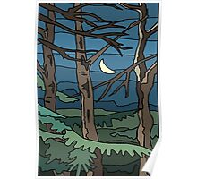Abstract Tree Branch Night Scene Poster