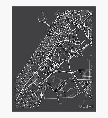 Dubai Map, UAE - Gray Photographic Print