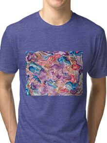 Pink and Blue Abstract  Tri-blend T-Shirt