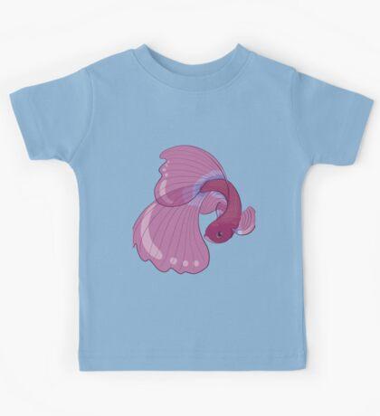 Purple, Gold and Blue Betta Fighting Fish  Kids Tee