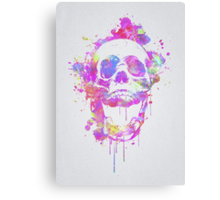Cool & Trendy Pink Watercolor Skull Canvas Print