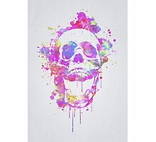 Cool & Trendy Pink Watercolor Skull Photographic Print