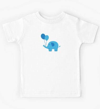 Sweet Funny Baby Elephant with Balloons Kids Tee