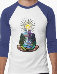 Psychedelic meditating Nature-man Men's Baseball ¾ T-Shirt