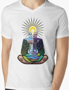 Psychedelic meditating Nature-man Mens V-Neck T-Shirt