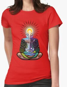 Psychedelic meditating Nature-man Womens Fitted T-Shirt