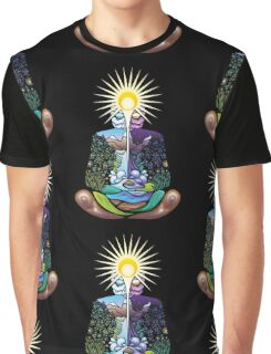 Psychedelic meditating Nature-man Graphic T-Shirt