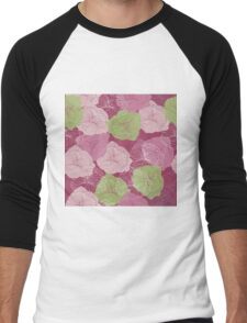 Vector floral pattern in doodle style with flowers. Gentle, spring Men's Baseball ¾ T-Shirt