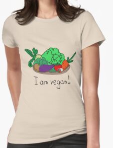 I am vegan. Conceptual handwritten phrase. Hand lettered calligraphic design. Womens Fitted T-Shirt