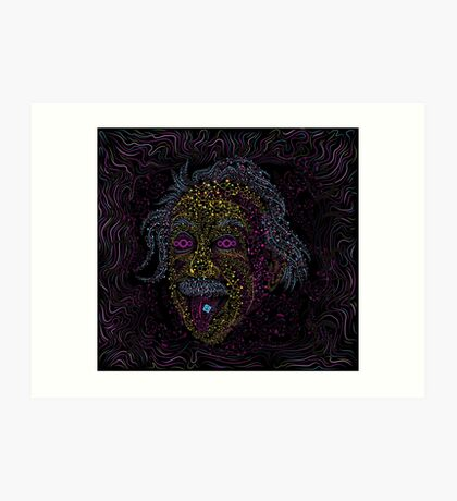 Acid Scientist tongue out psychedelic art poster Art Print