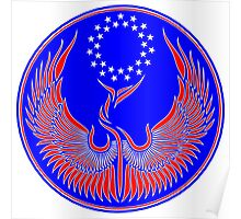 Defiant Phoenix Symbol in Red White and Blue Poster