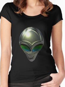 Metal Alien Head 02 Women's Fitted Scoop T-Shirt