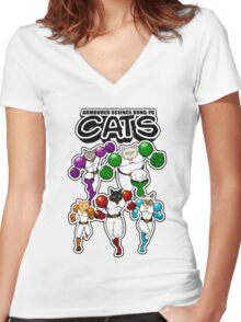Armoured Science Kung-Fu Cats Women's Fitted V-Neck T-Shirt
