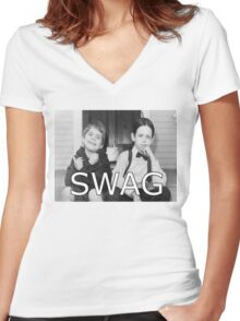 Little Rascals Swagger Women's Fitted V-Neck T-Shirt