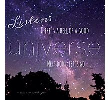 Universe Quote by ee cummings Photographic Print
