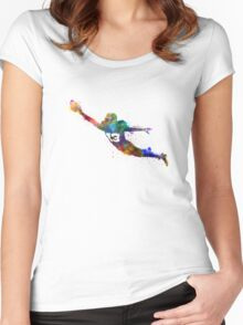american football player scoring touchdown Women's Fitted Scoop T-Shirt