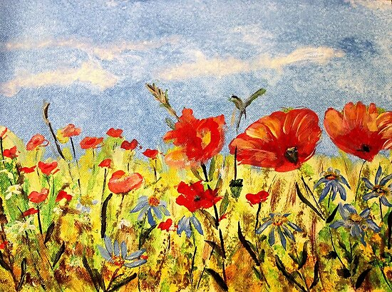 *With Love on Your 55th (Wildflowers in Acrylics)* by DeeZ (D L Honeycutt)