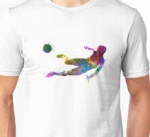 man soccer football player flying kicking Unisex T-Shirt