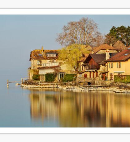 Nernier - Houses along Geneva lake Sticker
