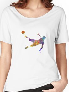 man soccer football player flying kicking Women's Relaxed Fit T-Shirt