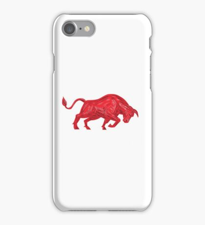 Bull Charging Drawing iPhone Case/Skin