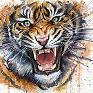 Ferocious Tiger Watercolor by OlechkaDesign