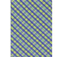 Colorful Yellow and Blue Plaid Fabric Design Photographic Print