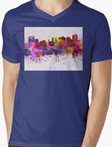 Fort Worth skyline in watercolor background Mens V-Neck T-Shirt