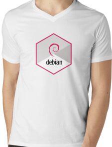 debian operating system linux hexagonal Mens V-Neck T-Shirt