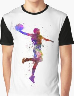 young man basketball player one hand slam dunk Graphic T-Shirt