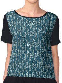 Turquoise seamless pattern with hand drawn floral elements Chiffon Top