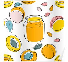 Seamless pattern Apricot jam and fruits Poster