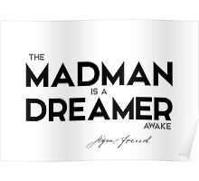 the madman is a dreamer awake - sigmund freud Poster