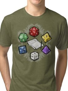 RPG DICE set and DICE PATTERN Tri-blend T-Shirt