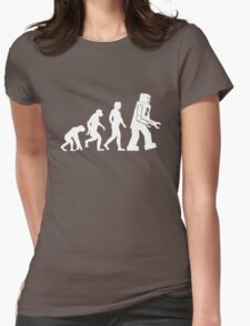 Sheldon Cooper - The Big Bang Theory Robot Evolution White Variant Womens Fitted T-Shirt