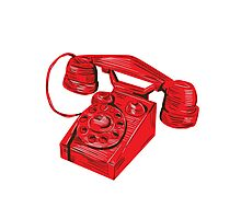 Telephone Vintage Drawing Photographic Print