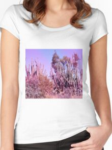 Dreamy Pink Cactus Landscape Women's Fitted Scoop T-Shirt