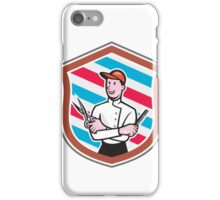Barber Holding Scissors Comb Shield Cartoon iPhone Case/Skin