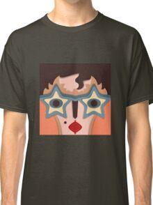 Lustiges abstraktes Gesicht mit Sternenbrille Classic T-Shirt