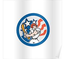 American Baseball Player Batting Circle Cartoon Poster