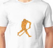 Field Hockey Player Running With Stick Drawing Unisex T-Shirt