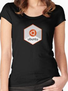 ubuntu linux unix operating system hexagonal Women's Fitted Scoop T-Shirt