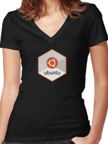 ubuntu linux unix operating system hexagonal Women's Fitted V-Neck T-Shirt