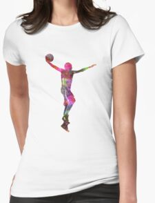 young man basketball player dunking Womens Fitted T-Shirt
