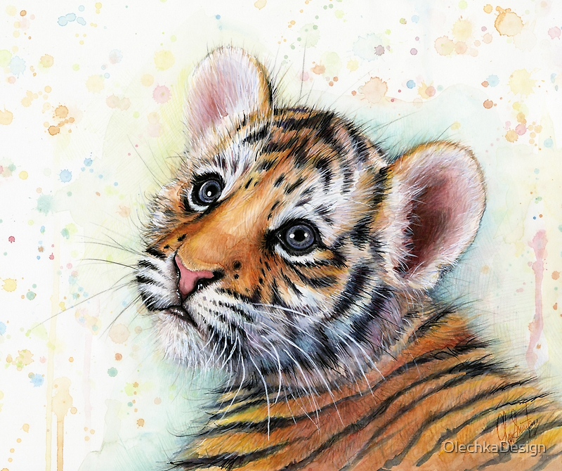 Tiger Cub Watercolor Painting by OlechkaDesign
