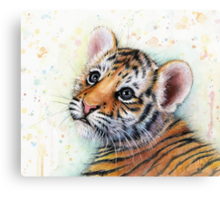 Tiger Cub Watercolor Painting Canvas Print