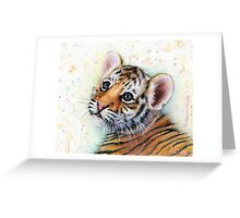 Tiger Cub Watercolor Painting Greeting Card