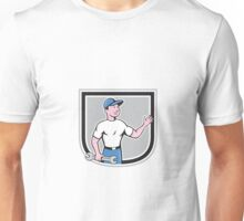Mechanic Hold Spanner Waving Hand Cartoon Unisex T-Shirt